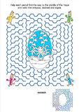 Maze game and coloring page - pencils and octopus Stock Images