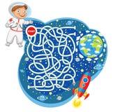 Maze Game con la solución Personaje de dibujos animados divertido Foto de archivo libre de regalías