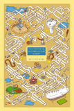 Maze Game con los tubos, las válvulas y la ingeniería sanitaria Imágenes de archivo libres de regalías
