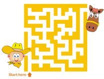 Maze game: cowboy and horse. Maze game for kids: Help the cowboy find the way to the horse Royalty Free Illustration