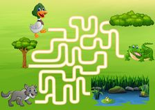 Maze Game of the crocodile, duck and wolf to find a way to the lake, forest and tree vector illustration