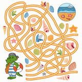 Maze game (crocodile). Maze game: Help the crocodile to find a way to the sea royalty free illustration