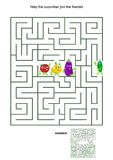 Maze game with cucumber and his vegetable friends Stock Image