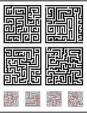 Maze game diagrams set Stock Images