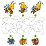 Maze game, education game for children about bees. Maze game, education game for children. Help the bees to find their way to the flowers Stock Image