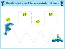 Maze game. Educational children cartoon game for children of preschool age. Help to find the way home in the sea Dolphin and feed. Him fish. Vector illustration Royalty Free Stock Photo