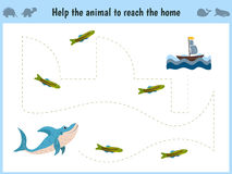 Maze game. Educational children cartoon game for children of preschool age. Help to find the way home in the sea the shark and fee. D her fish. Vector Stock Images