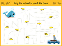 Maze game. Educational children cartoon game for children of preschool age. Help to find the way home in the sea the whale and fee Stock Photography