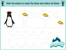 Maze game. Educational children cartoon game for children of preschool age. Help to find the way home to the Arctic penguin and fe. Ed him fish. Vector Royalty Free Stock Images