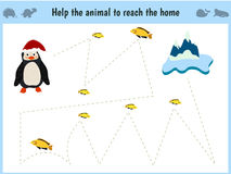 Maze game. Educational children cartoon game for children of preschool age. Help to find the way home to the Arctic penguin and fe. Ed him fish. Vector Stock Photo