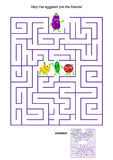 Maze game with eggplant and his vegetable friends Royalty Free Stock Photos