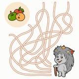 Maze Game för barn (igelkotten) Arkivfoto