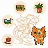 Maze Game för barn (katten) Royaltyfri Fotografi