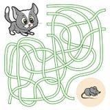 Maze Game för barn (katten) Royaltyfria Bilder