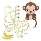 Maze Game für Vorschulkinder mit Affen Lizenzfreies Stockfoto