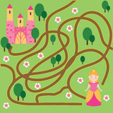 Maze game: fairytales theme. Help princess find home. Maze children game: help the princess go through the labyrinth and find her castle Royalty Free Stock Photography
