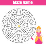 Maze game: fairytales theme. Princess looking for crown stock illustration