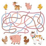 Maze game (farm animals - cow, pig, chicken, duck) Royalty Free Stock Photo