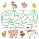 Maze game (farm animals - cow, pig, chicken, duck) Stock Images