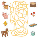 Maze game (farm animals and food). Cow, pig, chicken, horse Stock Photography