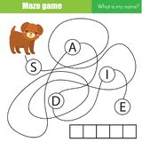 Maze game. Find name of dog. Educational words game for toddlers and children Vector Illustration