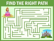 Maze game find a princess way to castle. Illustration of Maze game find a princess way to castle stock illustration