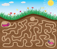 Maze game. Find the road worm vector illustration