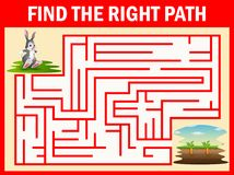 Free Maze Game Finds The Rabbit Way Get To The Carrot Stock Photography - 123286822