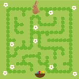 Maze Game For Children. Help Bunny Find Way To Easter Eggs Royalty Free Stock Image