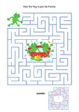Maze Game For Kids - Playful Frogs Royalty Free Stock Images