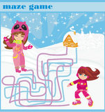 Maze game - fun in the winter day Stock Photo