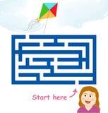 Maze game: girl & flying kite royalty free illustration