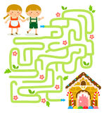 Maze game with Hansel and Gretel Royalty Free Stock Images