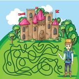 Maze game - hehp princ find the way to his castle Royalty Free Stock Photo