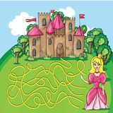 Maze game - hehp princess find the way to her Royalty Free Stock Photos