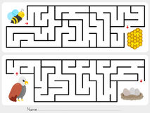 Maze game: Help the bee to find the honeycomb  and help the eagle to find the eggs. Maze game: Help the bee to find the honeycomb Royalty Free Stock Photography