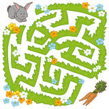 Maze game: help bunny get to the carrot Royalty Free Stock Image
