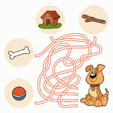 Maze Game: Help the dog get to food Stock Images