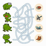 Maze game: Help frogs to find food. Maze game for children: Help frogs to find food Royalty Free Stock Photography