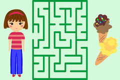 Maze Game. Help the Girl to Get Ice-Cream. Puzzle. Royalty Free Stock Photography