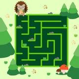 Maze game. Help hedgehog go through forest. Animals theme activity for kids, children Stock Image