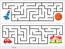 Maze game: Help rocket find the way to mars  and help red car find the way to  home. Maze game: Help rocket find the way to mars Royalty Free Stock Photos