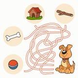 Maze Game: Hjälp hunden att få till mat Arkivbilder