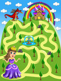 Maze Game Kid Princess Castle röd drake Royaltyfri Foto
