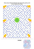 Maze game for kids. Help every chicken to find its own way to the yummy corn in the middle of the maze. Answer included Royalty Free Stock Images