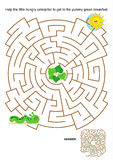 Maze game for kids. Maze game or activity page for kids: Help the little hungry caterpillar to get to the yummy green breakfast. Answer included Stock Images