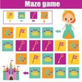 Maze game. Kids activity sheet. Logic labyrinth with code navigation. Maze children game: help princess go through the labyrinth and find castle. Kids activity royalty free illustration