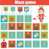 Maze game. Kids activity sheet. Logic labyrinth with code navigation. New Year, Christmas theme Stock Photography