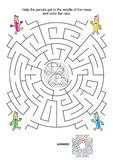 Maze game for kids with cars, pencils and coloring Royalty Free Stock Photography