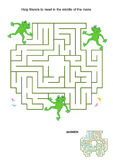 Maze game for kids - frogs. Maze game for kids: Help the frog friends to meet in the middle of the maze. Answer included royalty free illustration